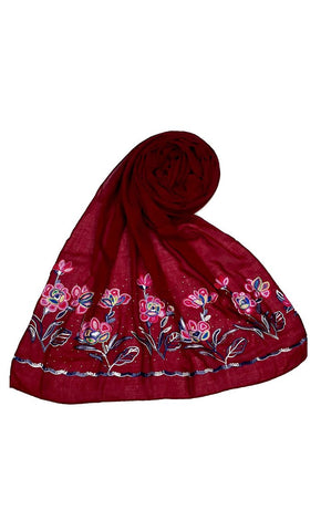 Maroon floral Ari work hijab-final sale