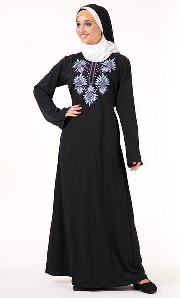 Floral Embroidered Abaya_As Pictured_Front_View