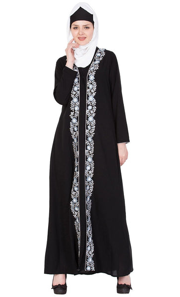 Floral embroidered front open abaya-Final sale