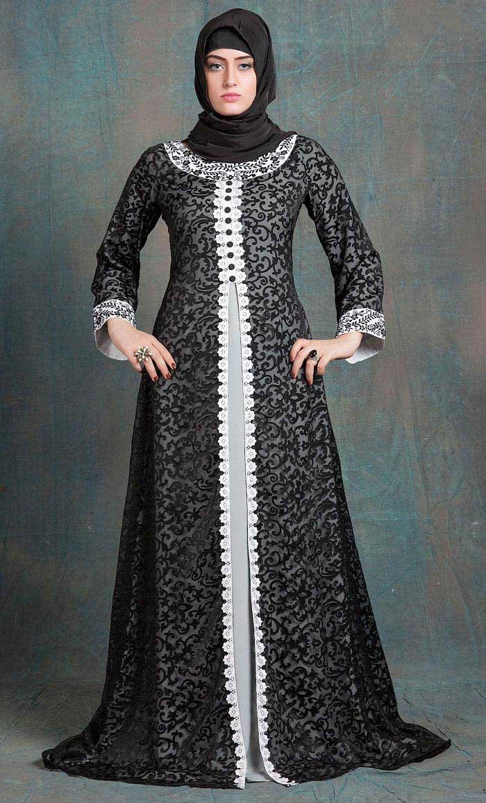 e17602b6d Gray and Gray Color Kaftan Arabic Evening Dress With Net Brasso and White  Lace Work-