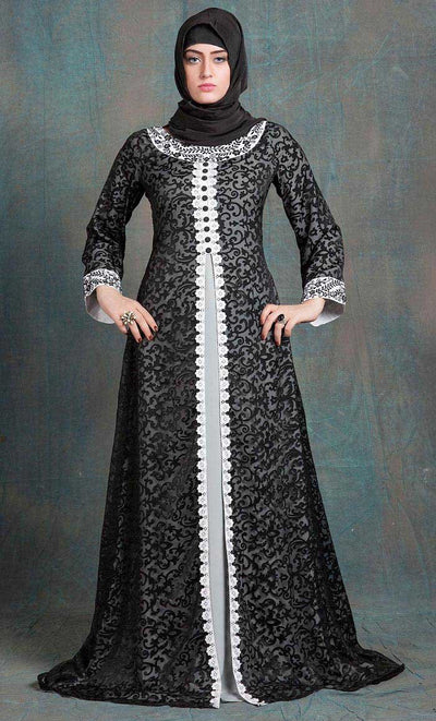 Gray and Gray Color Kaftan Arabic Evening Dress With Net Brasso and White Lace Work-Final Sale_As Pictured_Front_View