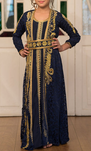 Girls Blue Party Wear Full Sleeve Gold Beading Kaftan-Final Sale_Front_View