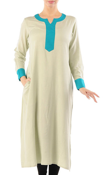Color Block Extra Long Rayon Tunic_Pastel green (Out of Stock)_Front_View