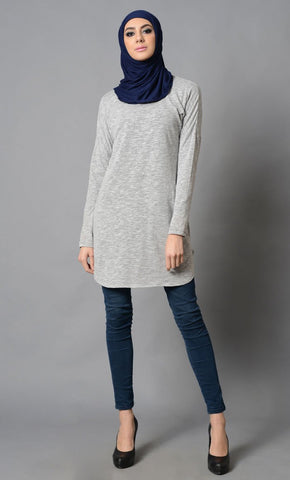 Light Grey Simple Plain Cotton Tunic-Final Sale Item_Grey_Front_View