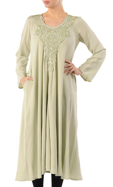 Crochet Embroidered Extra Long Tunic_Pastel Green_Front_View