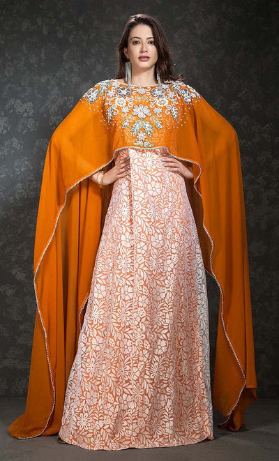 Orange Yellow & White Color Kaftan-Georgette Kaftan-Final Sale_As Pictured_Front_View