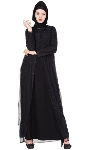 Pearl net abaya dress-Final sale