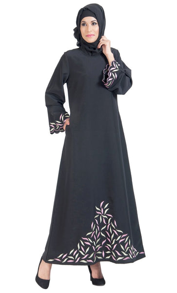 Unique Embroidered Abaya Dress_Black_Front_View