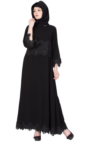 Princess black abaya with lace-Final sale