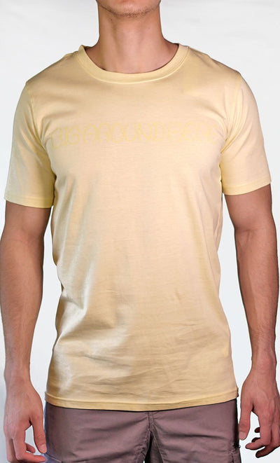Men's Yellow Tee - Name Logo - Final Sale Item_As Pictured_Front_View