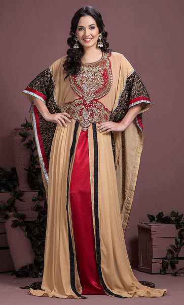 Maroon Off White & Black Color Kaftan-Georgette Kaftan-Final Sale_As Pictured_Front_View