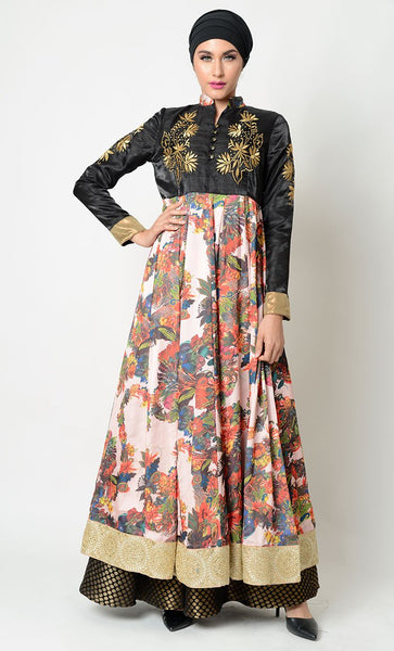Embellished embroidered silk gown dress_As Pictured_Front_View