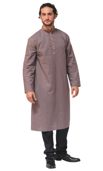 Mens Side Pockets Cotton Kurta_Light Grey_Front_View
