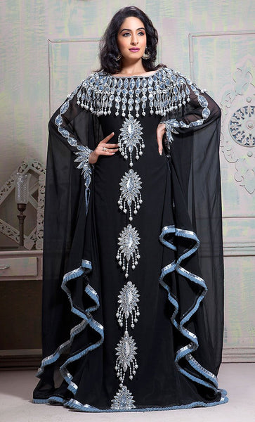 Fancy Black Color Goergette Plussize Islamic wedding Kaftan-Final Sale_As Pictured_Front_View