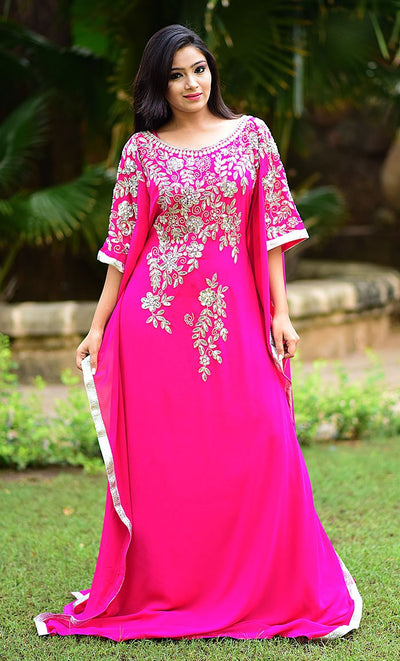 Scintillating Pink Color Georgette Embroidered Kaftan-Free Size-Final Sale_As Pictured_Front_View
