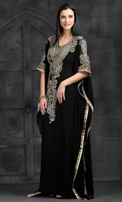 Black Color Kaftan-Georgette Kaftan-Final Sale_As Pictured_Front_View