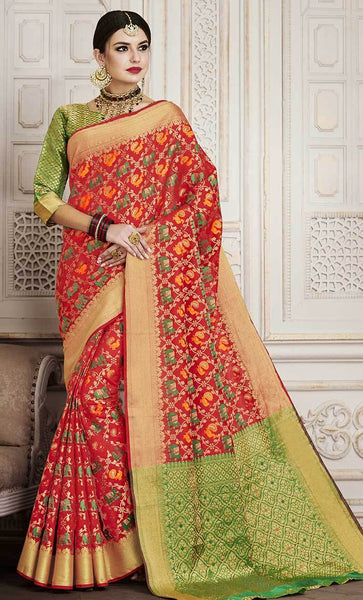 Geometric Jacquard Woven Design Maroon Saree-Final sale item_As Pictured_Front_View