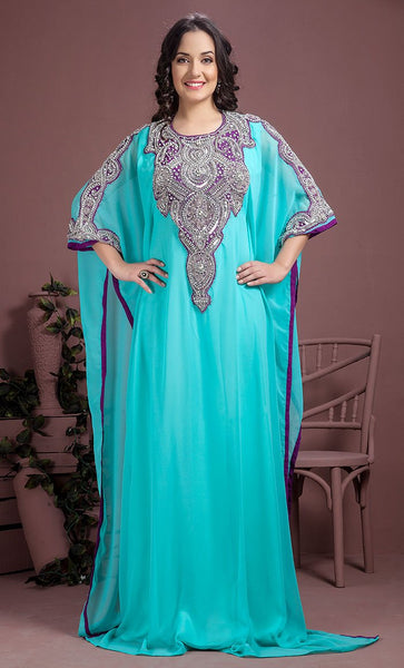 Aqua Blue Color Kaftan- Georgette Kaftan-Final Sale_As Pictured_Front_View