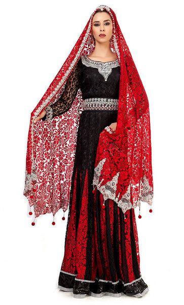 Elegant Black & Red Wedding Designer Kaftan-Final Sale_Front_View