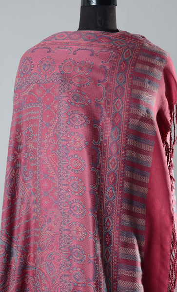 Lihaaz Pink Filled Style Pashmina Shawl- Final Sale Item_As Pictured_Front_View