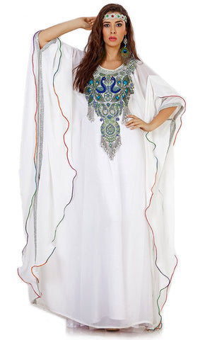 Beautiful White Peacock Embroidered Arabic Caftan-Final Sale_As Pictured_Front_View