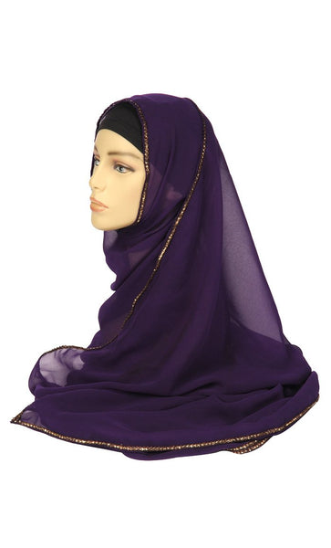 Purple Georgette hijab with a gold lace trim_As Pictured_Front_View