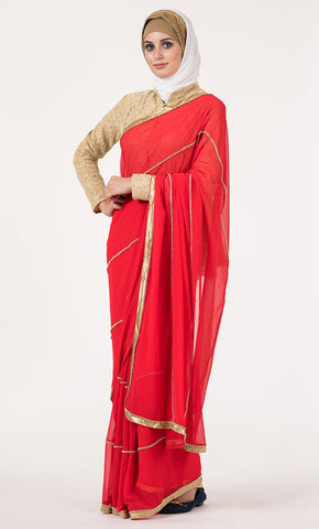 Bright Red with gold accent Saree_As Pictured_Front_View