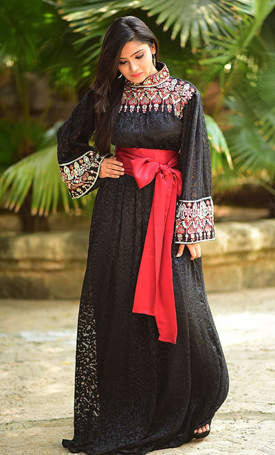 Black & Maroon Color Kaftan-Brasso Kaftan-Final Sale_Front_View