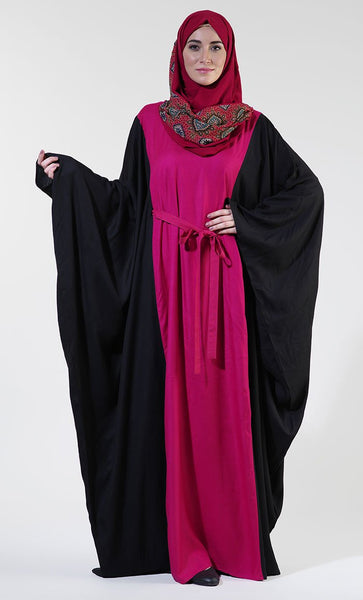 Fushia Color Block Rayon Tie Kaftan_As in picture (out of stock)_Front_View