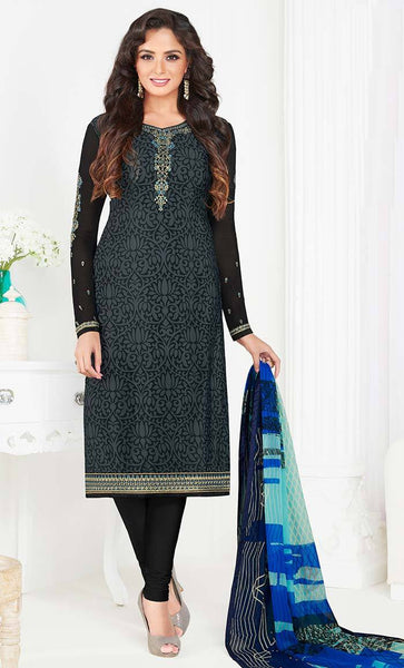 Black printed Crepe with Embroidered neck salwar kameez-Final sale