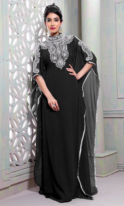 Chic Black Color Designer Hand Crafted Kaftan-Final Sale_As Pictured_Front_View