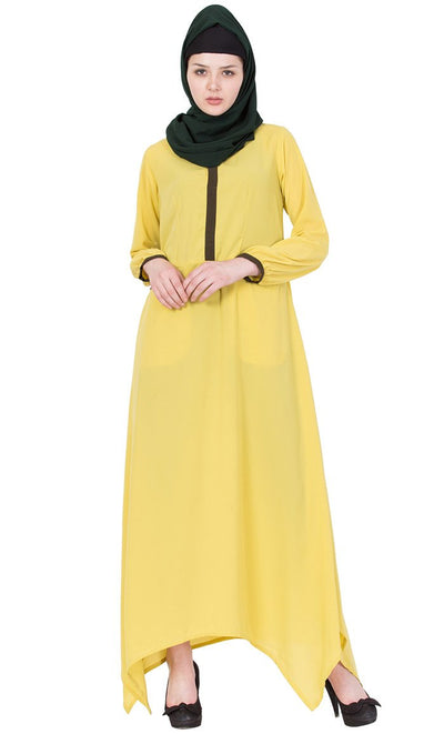 Asymmetrical long lemon color abaya dress-Final sale
