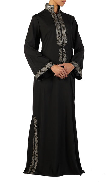 Black crepe abaya, Hidden loops on chest, Bell shaped sleeves - Black