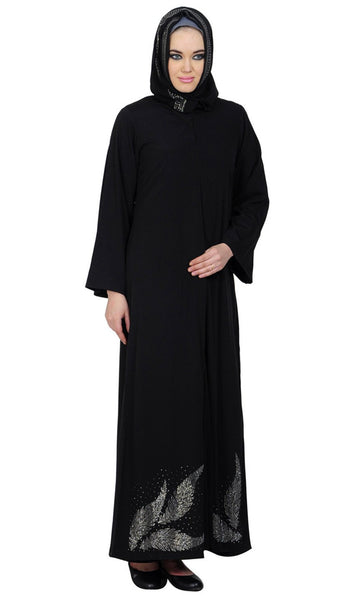 Double layered Leaf Hem Accent Arabic Crystal Abaya_Black_Front_View