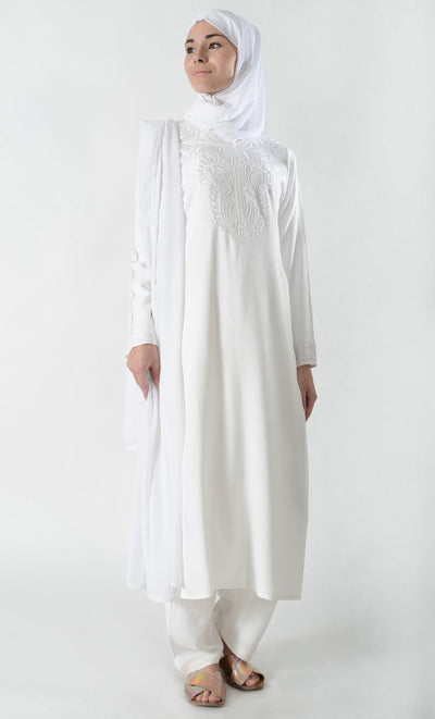 White Embroidered Hajj Umrah Shalwar Kameez