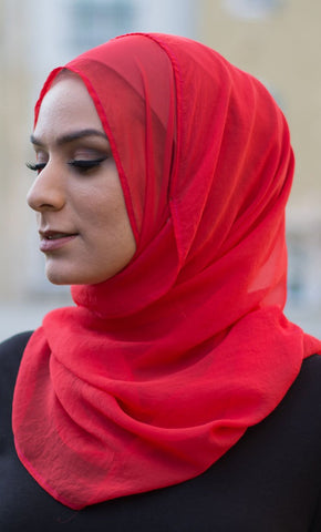 Solid Chiffon Hijab - Red_Red_Front_View
