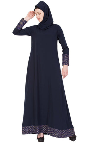 Soft Nida navy A line abaya dress-Final sale