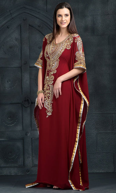 Maroon Color Kaftan-Georgette Kaftan-Final Sale_As Pictured_Front_View