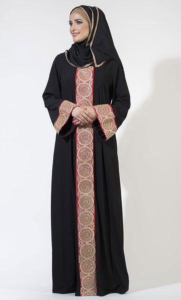 Front Open Red & Gold Trim Abaya/ Jilbab_Black_Front_View