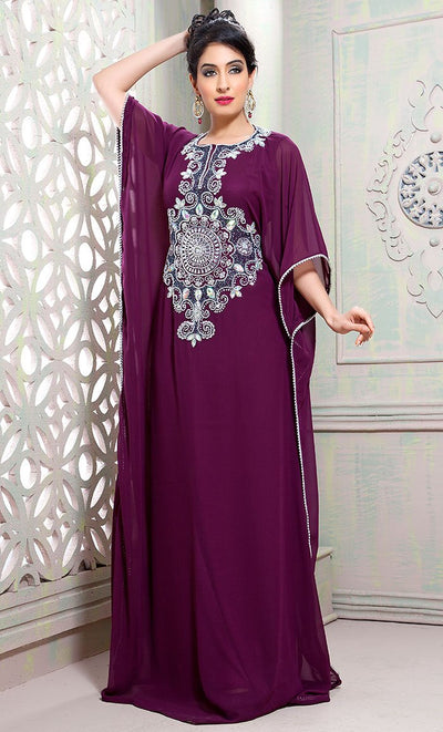 Tantalizing Purple Partywear Caftan-Final Sale_As Pictured_Front_View