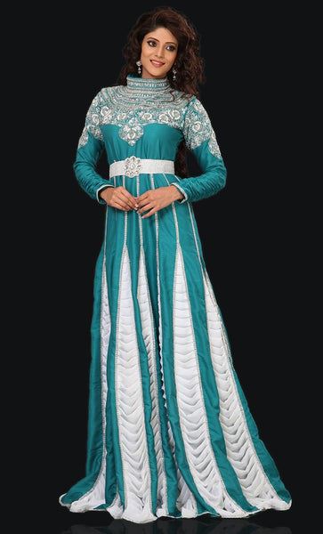Exquisite Cyan Blue Embroidered Kaftan-Final Sale_As Pictured_Front_View