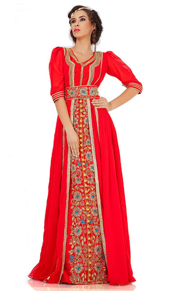 Attractive Dark Red Jacket Style Moroccan Wedding Caftan-Final Sale_As Pictured_Front_View