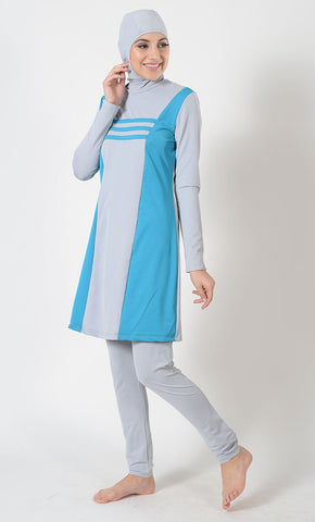 Turquoise Accent Swimwear Burkini- Final Sale_As Pictured_Front_View