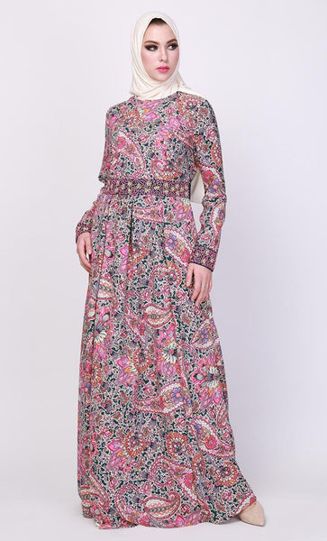 Acanthus Print Abaya Dress