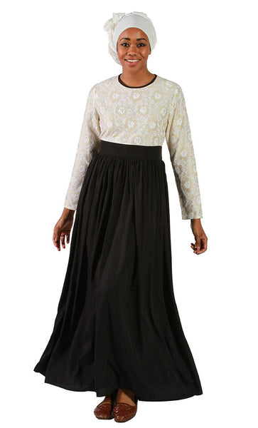 Laced Pleated Abaya_Black_Front_View