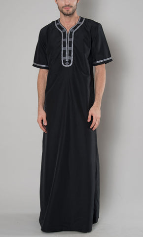 Men's Embroidered Jubba_Black_Front_View