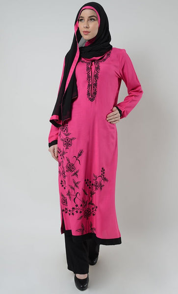 Spring Floral Embroidered Shalwar Kameez Set - Hot Pink
