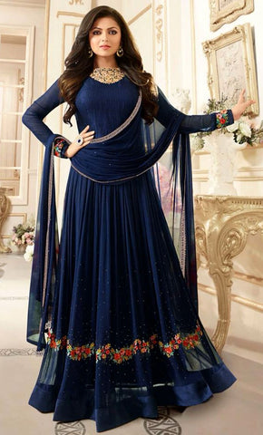 Floral Embroidered Round neck Georgette Anarkali Dress_As Pictured_Front_View