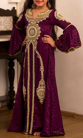 Girls Purple Kaftan with Gold Beadwork- Final Sale_Front_View