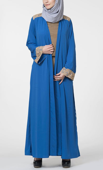 Lace Crepe Belted Duster-Royal Blue